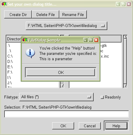 FileDialog sample #2: Help button