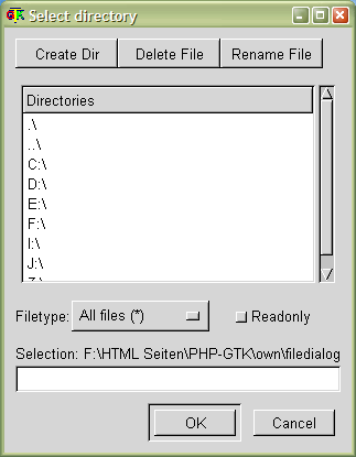 FileDialog sample #3: DirSelection