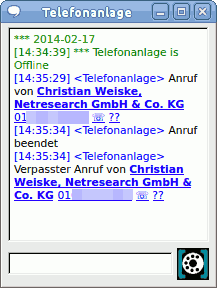 Chat message from the asterisk server