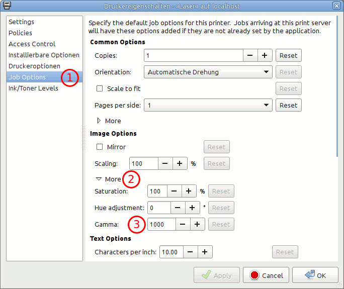 Printing on Linux: Adjusting brightness