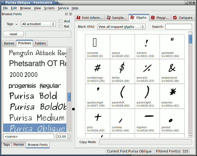Linux font preview applications